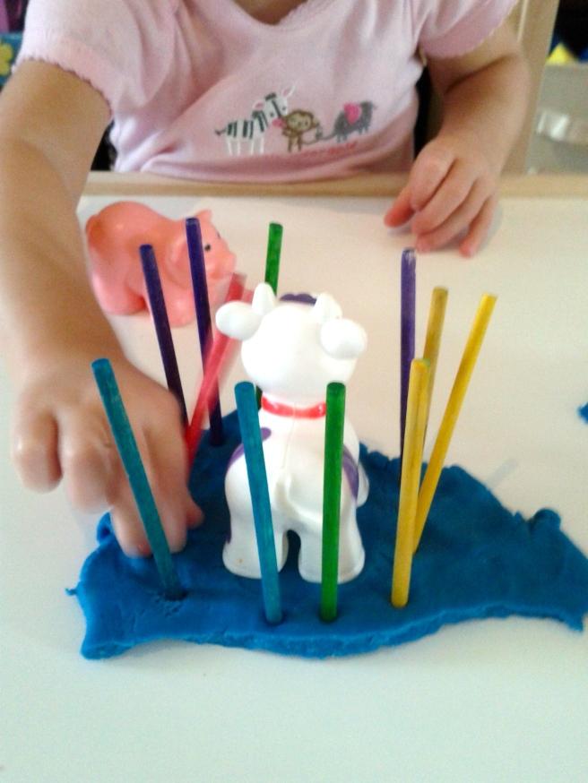 Add sticks for a barnyard zoo